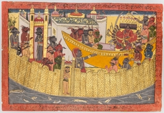 """Ravana's sister complains that her nose was cut off by Lakshmana as the demons prepare to depart to capture Sita, from the """"Shangri"""" Ramayana"""