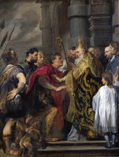 Saint Ambrose barring Theodosius from Milan Cathedral