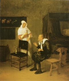 Scene at an Inn with elderly Guest and servant Maid