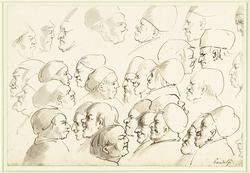 Schetsblad met karikaturen