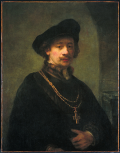 Self-portrait with beret, gold chain, and cross