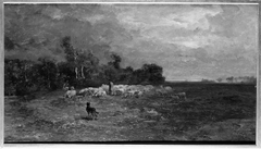 Shepherd and Sheep on the Edge of a Plain