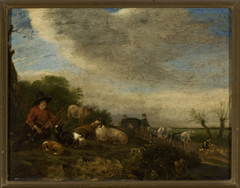 Shepherd with goats and sheep and a carriage on the right