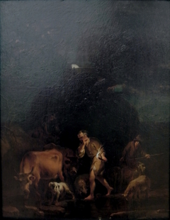 Shepherds in Moonlight by Torchlight