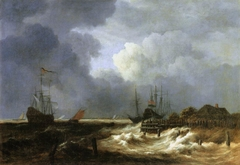 Ships in stormy weather off the coast