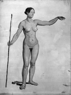 Stående nøgen kvindelig model