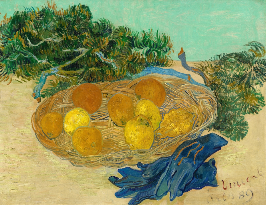 Still Life of Oranges and Lemons with Blue Gloves