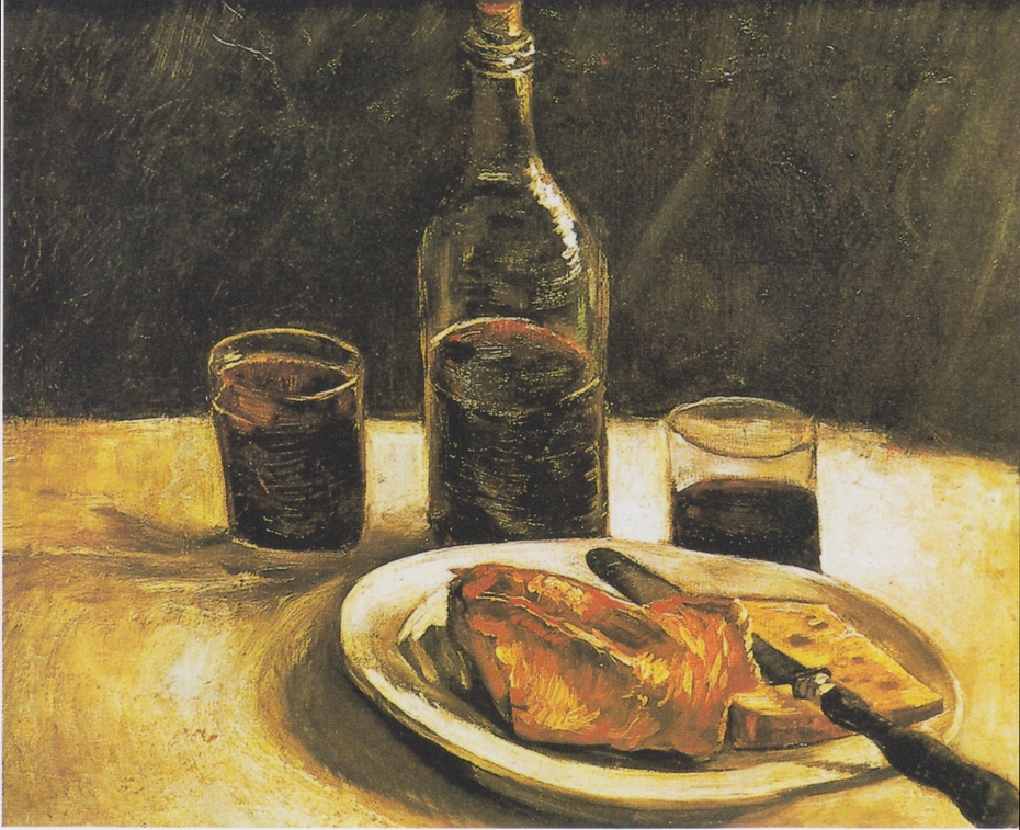 Still life with Bottle, Two Glasses, Cheese and Bread