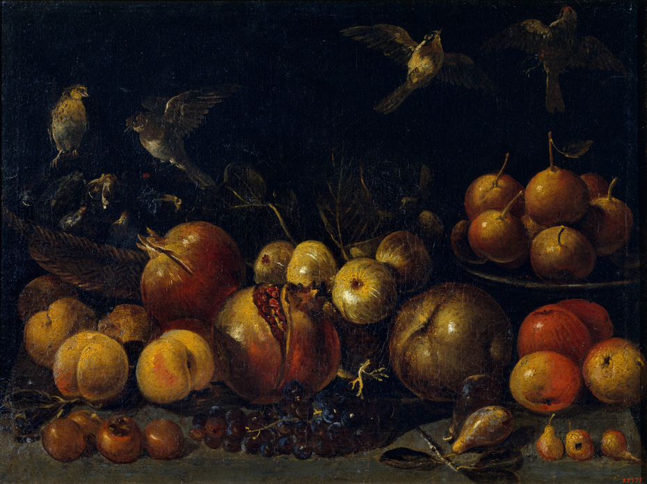 Still Life with Pomegranates, Apples, Pears, Grapes, Figs and Birds
