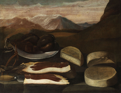 Still Life with Sausage, Ham and Cheese
