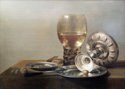 Still-life with Wine Glass and Silver Bowl
