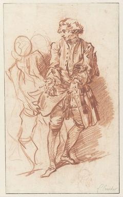 Studie van La Flèche, terwijl zijn zakken door Harpagon worden doorzocht