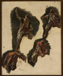 "Studies of figures for the painting ""Tartars' flight"""