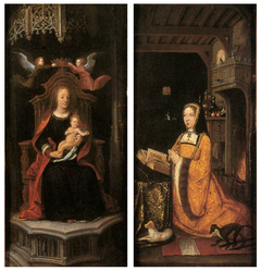The Virgin and Child with Two Angels (left wing), Margaret of Austria in Worship of the Virgin (right wing)