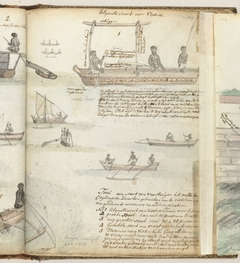 Thonies, vissersboten in de baai van Galle