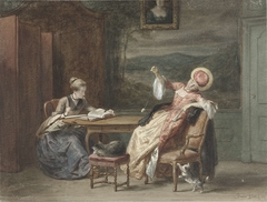 Twee jonge vrouwen aan een tafel