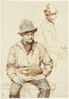 Twee studies van een zittende man met hoed