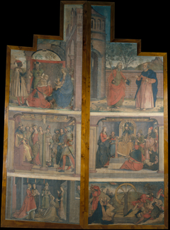 Two cloths from the doors of an altarpiece with scenes of saint Catherine's life