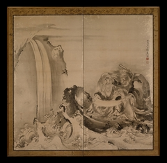 Two Figures (most likely Ryo Douhin receiving the Taoist law from Shou Rikken)