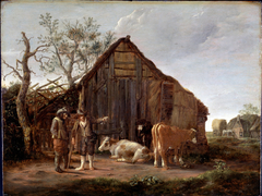 Two Peasants with Cow