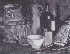 Still life with earthenware, Bierglas and bottle