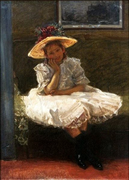 A Girl in a Hat with Flowers