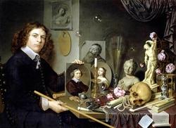 Vanitas with self-portrait