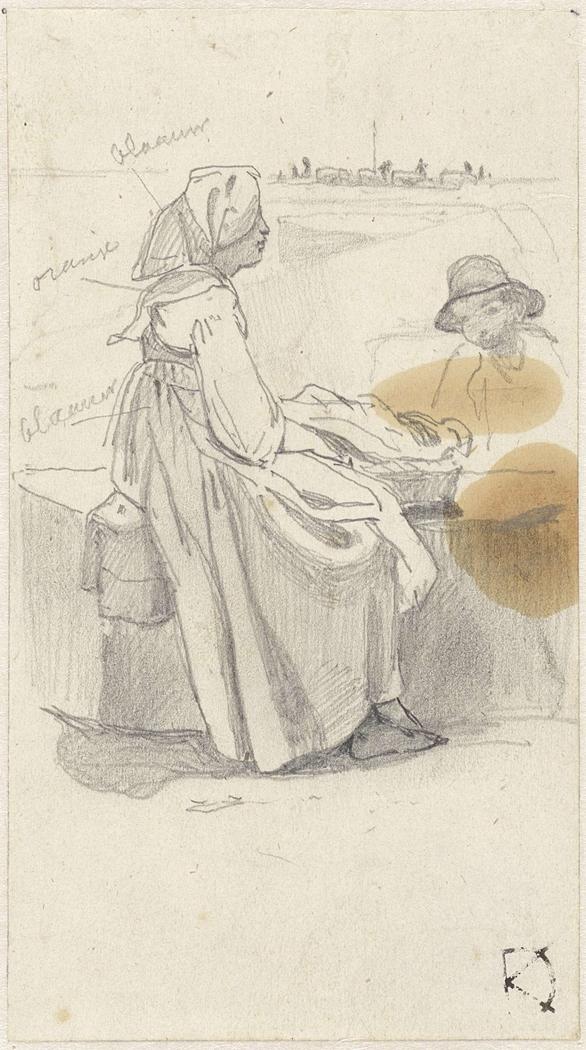 Vrouw, in profiel, rustend op een muurtje waarop een mand staat