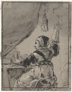 Vrouw met een pop
