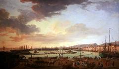 Vue du port de Toulon, la vieille darse, prise du côté des magasins aux vivres