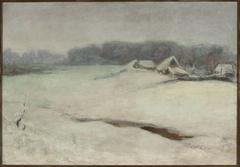 Winter landscape with cottages