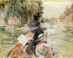 Woman with a Child in a Boat