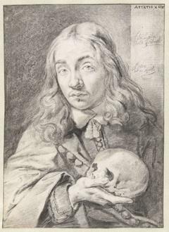Zelfportret van Cornelis Visscher met schedel