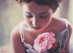 «Κοριτσάκι με ροζ τριαντάφυλλο», 30 x 40 cm, oil on canvas.