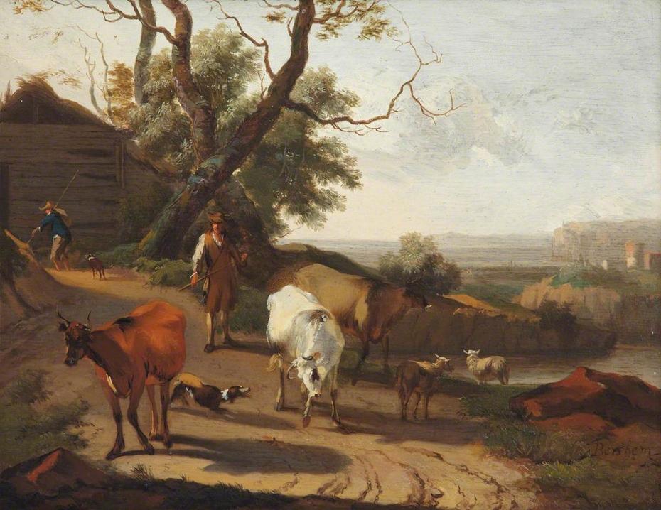 A Herdsman Driving Cattle down a Lane