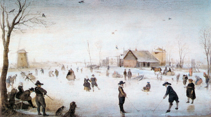 A Winter river Landscape with figures on the ice