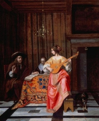 A Woman with a Cittern and a Singing Couple at a Table