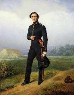 Alexandre Legros in gunner's uniform in a haystack landscape