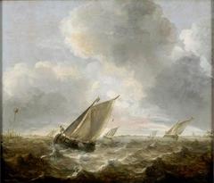 Bateaux de pêche sur une mer agitée ; Marine