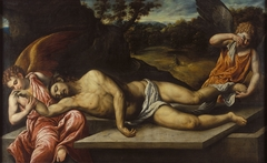 Dead Christ mourned by angels