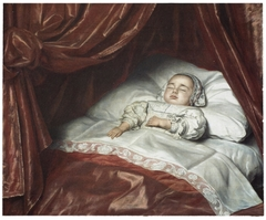 Deathbed portrait of a child, probably Catharina Margaretha van Valkenburg (1680-1682)