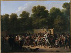 Distribution de vin et de comestibles aux Champs-Elysées, à l'occasion de la fête du roi