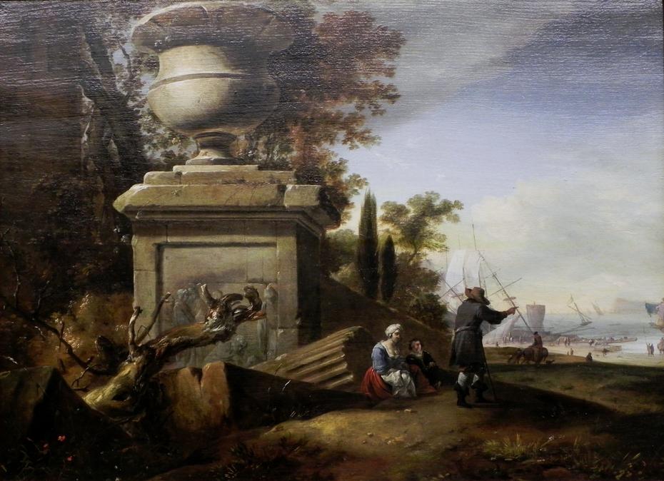 Ein Gespräch am Sockel einer steinernen Vase