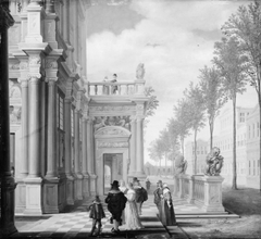 Elegant Company in Front of a Palace
