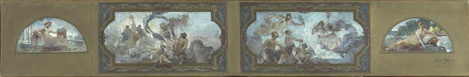 Esquisse pour la galerie Lobau de l'Hôtel de Ville de Paris : Vertus républicaines. Allégories de la Seine et de la Marne.