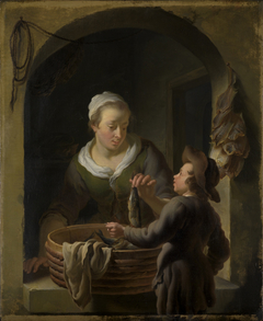 Fish Seller selling a Herring to a Boy