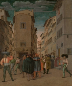 Florentine Street Scene with Twelve Figures (Sheltering the Traveler, one of the Seven Works of Mercy)