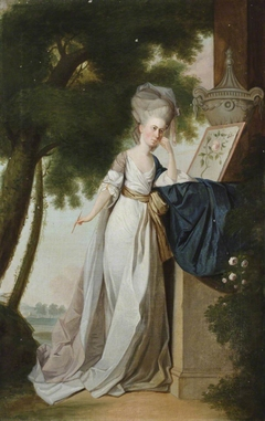 Frances Delaval, Mrs Fenton Cawthorne (1759 - 1839), with a watercolour of a rose, in a landscape