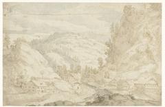Gezicht op een dal met een dorp en een bergbeekje