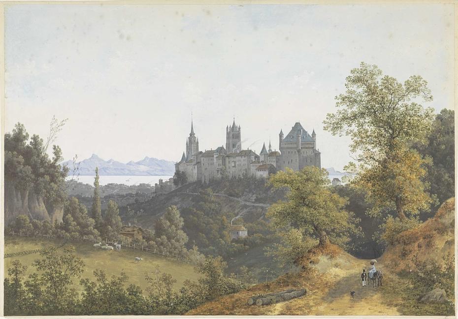 Gezicht op Lausanne, met uitzicht op de burcht en de kathedraal